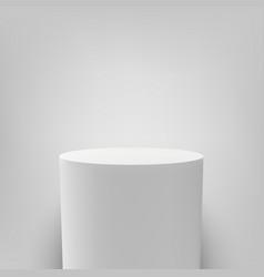 white pedestal round white 3d podium column vector image