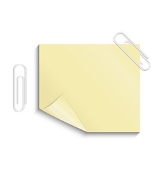 Yellow sticker with paper clips vector image