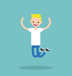 young winking jumping blond boy flat editable vector image vector image