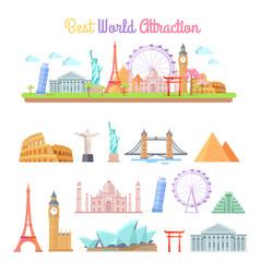 Best world attractions cartoon set vector
