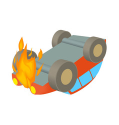 Car is on fire icon cartoon style vector image