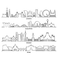 cityscape building london singapore madrid rome vector image