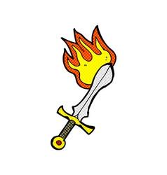 comic cartoon flaming sword vector image