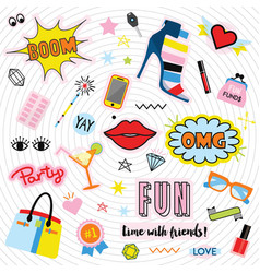 fashionable quirky colorful label and stickers set vector image
