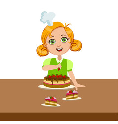 girl decorating the cake cute kid in chief toque vector image