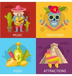 Mexican Colored Compositions vector image vector image