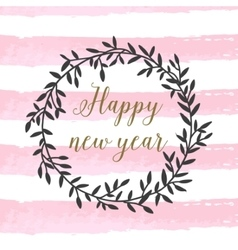 Poster with calligraphic happy new year sign with vector image vector image