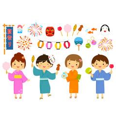 japanese summer festival set vector image vector image