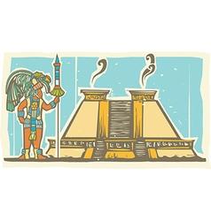 Mayan Warrior and Pyramid vector image