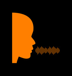 people speaking or singing sign orange icon on vector image