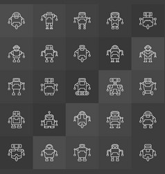 robots icons collection outline robot vector image vector image