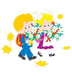 Schoolboy and schoolgirl first-graders vector image vector image