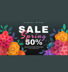 spring sale banner with paper flowers on a black vector image