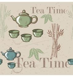 Tea time vintage seamless background Retro kettle vector image