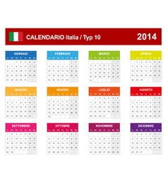 Calendar 2014 Italy Type 10 vector image vector image