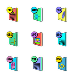 download file icons set cartoon style vector image vector image