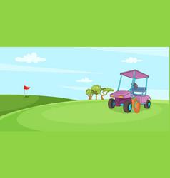 field of golf horizontal banner cartoon style vector image vector image
