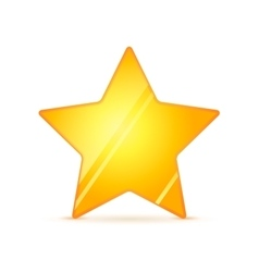 Glossy golden rating star with shadow on white vector image