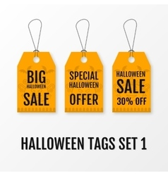 Halloween big sale tags set isolated vector image