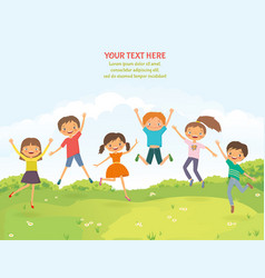 happy jumping children in the summer background vector image vector image