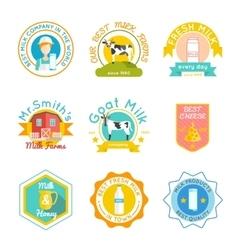 Milk emblem set vector
