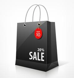 Shopping black bag vector image vector image