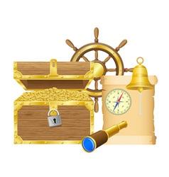 antique treasure chest vector image vector image
