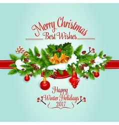 Christmas tree garland holiday poster design vector image vector image