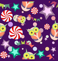 funny cartoon seamless pattern party owls vector image