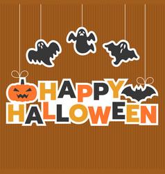 Happy halloween hanging headline with ghost vector