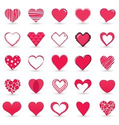 Heart valentine icon set vector image