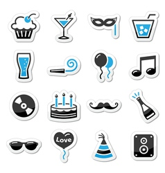 Holidays and party icons set as labels vector image