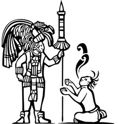 Mayan Warrior and Captive vector image vector image