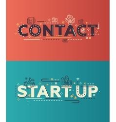 Modern flat design contact start up lettering vector