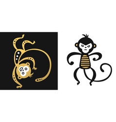 Monkey chinese style vector