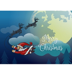 Santa without sleigh flying with deer in the vector image