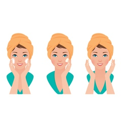 Set girl skin care face washing and application of vector image vector image