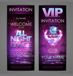 Set of disco background banners all night dance vector