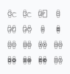 smart watch icons flat mono line design vector image vector image