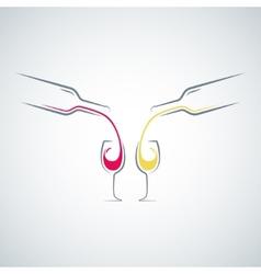 wine glass bottle concept menu background vector image