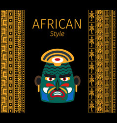 african yellow borders and mask design vector image
