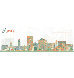 Ames iowa skyline with color buildings vector