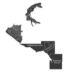 anchorage alaska city map usa labelled black vector image