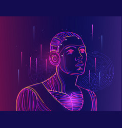 artificial intelligence concept with human face vector image