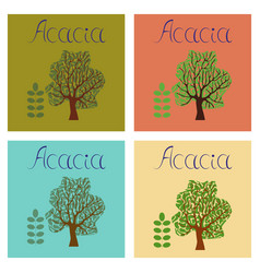 Assembly flat nature plant acacia vector