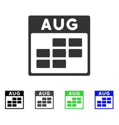 August calendar grid flat icon vector