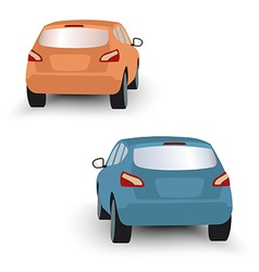 Back of hatchback cars orange and blue in on white vector image