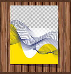 background template with abstract art on wooden vector image