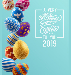 background with decorated easter eggs design vector image