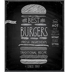 Best Burgers Poster - chalkboard style vector image
